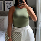 FSDA 2020 Sleeveless Summer Sexy Bodysuit Women Off Shoulder White Basic Body Top Casual Streetwear Bodysuits Black