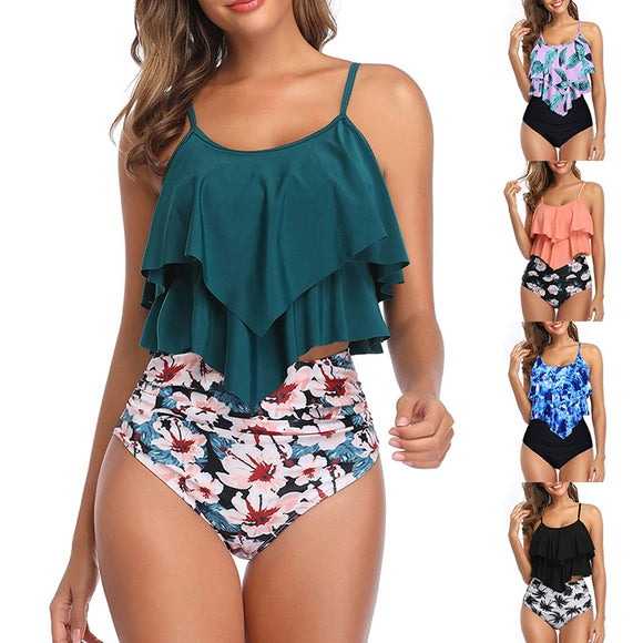 Sfit Swimsuit for Women Two Piece Double Flounce top with High Waisted Ruched Bottom Tankini Set Swimwear Bathing Suit Plus Size