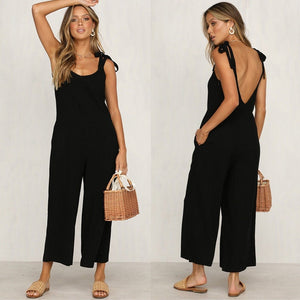 Rompers 2020 Summer Autumn New Fashion Women Casual Loose Linen Cotton Jumpsuit Sleeveless Backless Playsuit Trousers Overalls