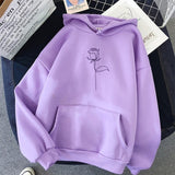Rose Printed Hoodies Sweatshirts Women Long Sleeve Casual Autumn Winter Pullovers Pockets Street Loose plus velvet sweatshirts