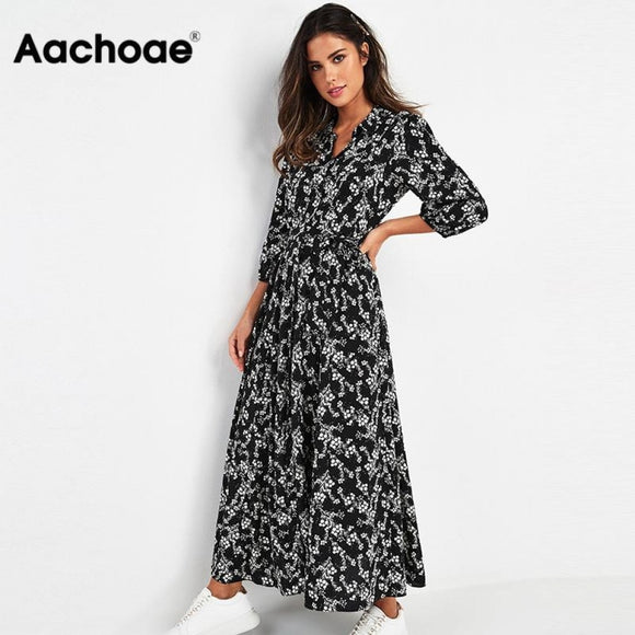 Aachoae Vintage Floral Maxi Dress Women Boho Three Quarter Sleeve Long Dress Turn Down Collar Casual Shirt Dresses Robe