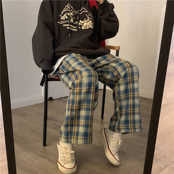 Women Autumn Wide Leg Pants for Women Korean Style High Waist Checkered Pants Oversize Trousers Women Harajuku
