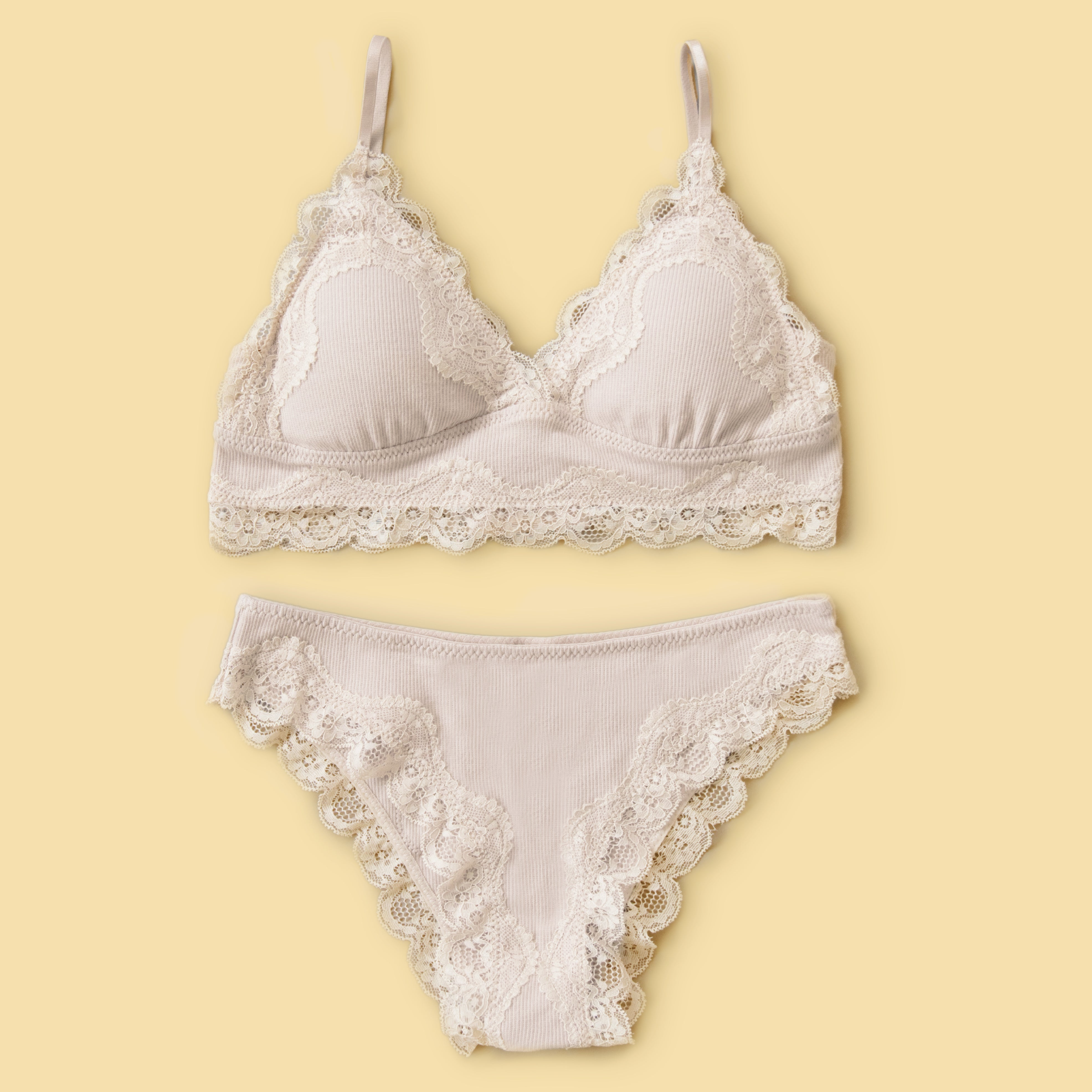 Lace Trim Bralette Set