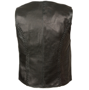 Leather Zipper Front Braided Vest