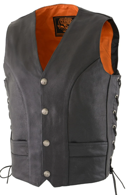 Black Braided Leather Vest