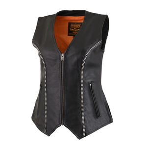 Leather V Neck Zippered Vest