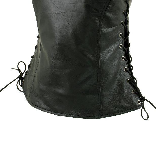 Leather Vest with Snap Button Closure