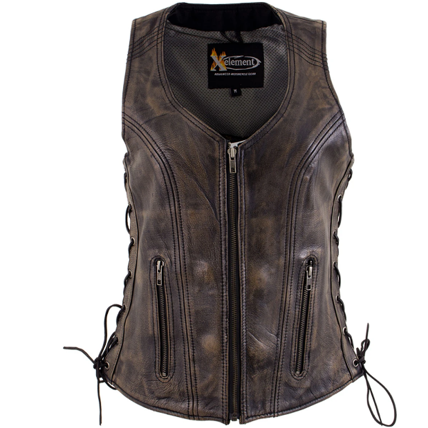 Leather Vest with Side Adjustable Laces
