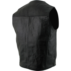 Classic Style Black Leather Vest