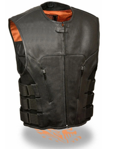 Front Black Leather Vest