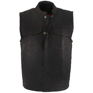 Men Leather Vest with Red Stitching