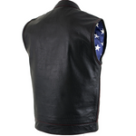Load image into Gallery viewer, Men Leather Vest with Red Stitching
