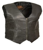 Load image into Gallery viewer, Leather Zipper Front Braided Vest