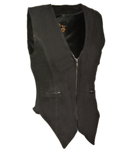 Ladies Denim Leather Vest