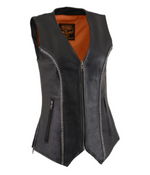 Load image into Gallery viewer, Leather V Neck Zippered Vest
