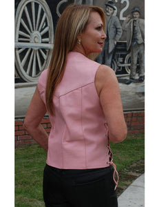 Pink Leather Side Lace Vest