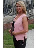 Load image into Gallery viewer, Pink Leather Side Lace Vest