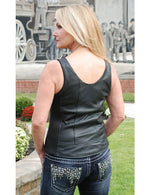 Load image into Gallery viewer, Crystal Trim Leather Vest