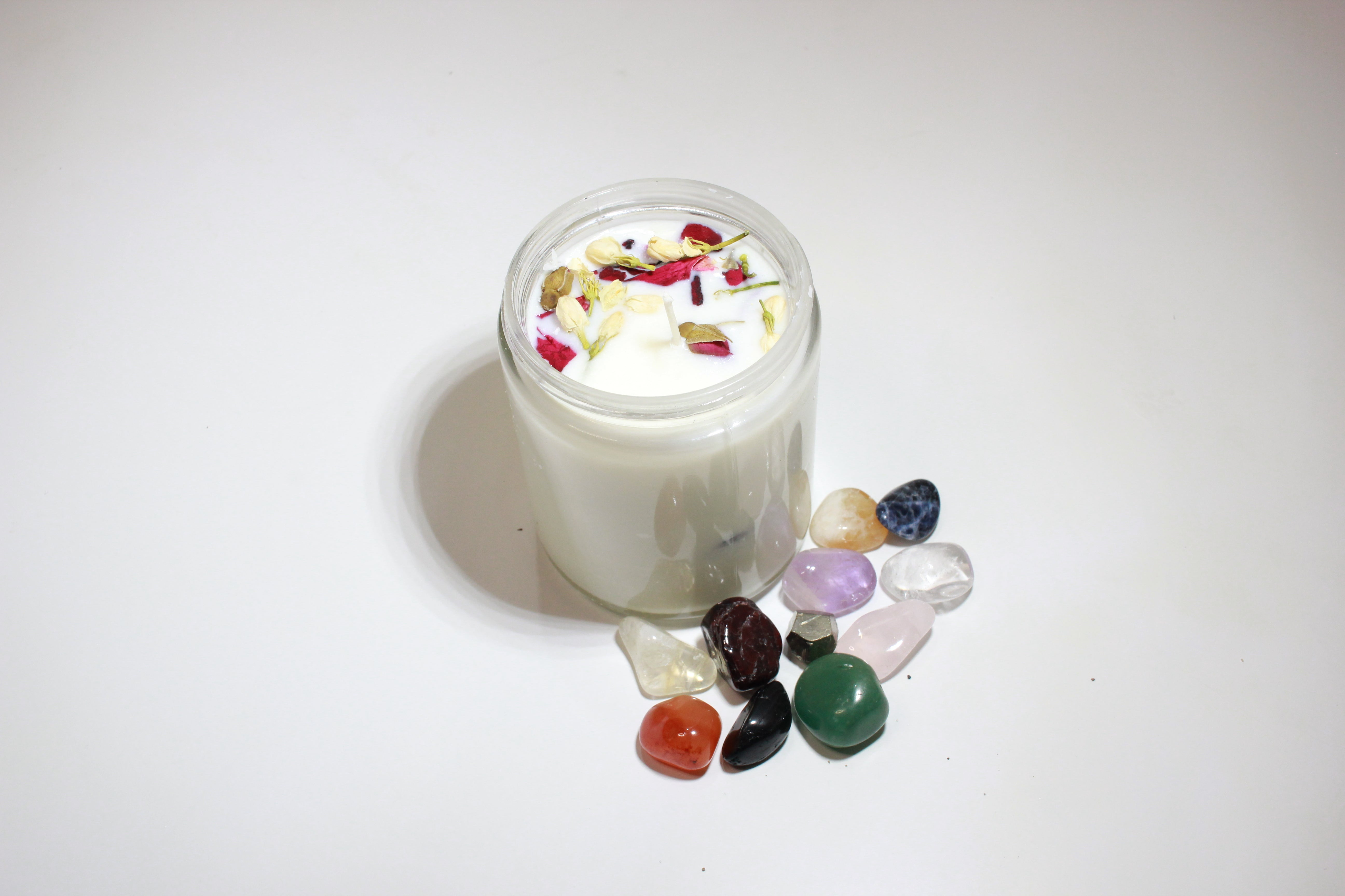 """I Am Love"" Affirmation Crystal Candle with Dried Herbs"