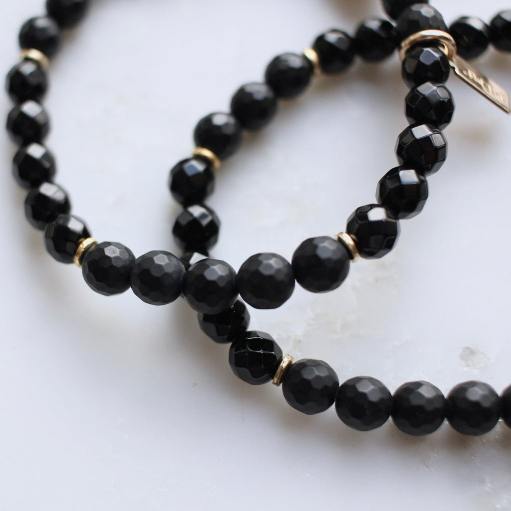 Onyx Mantra Stretch Bracelet | Build Your Own - BAD BAD Jewelry