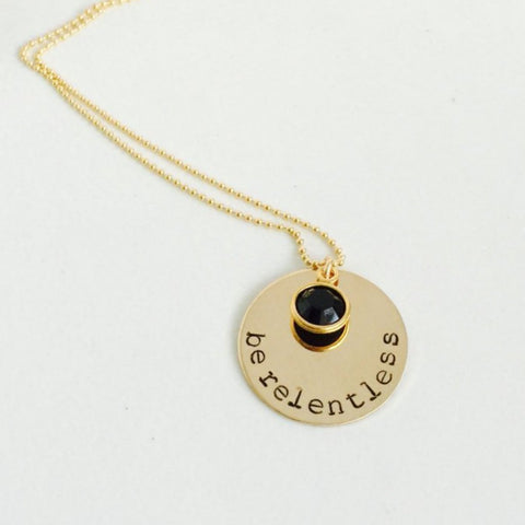 Be Relentless Coin Necklace with Swarovski Crystal and Beaded Chain - BAD BAD Jewelry