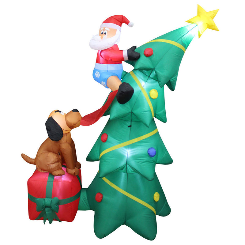 Inflatable Yard Christmas Decoration, Christmas Tree with Dog - 6' Tall
