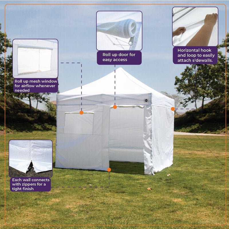 10x10 Pop up Canopy Tent Outdoor Market Canopy with Sidewalls / Weight Bags