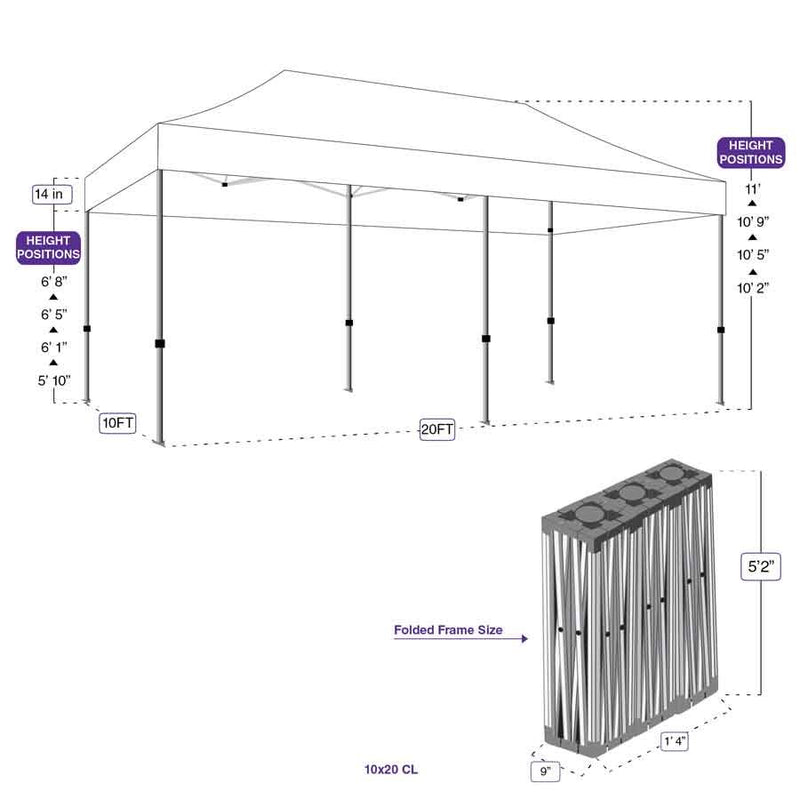 10X20 CL Pop up Canopy Tent Replacement Steel Frame - Commercial Grade