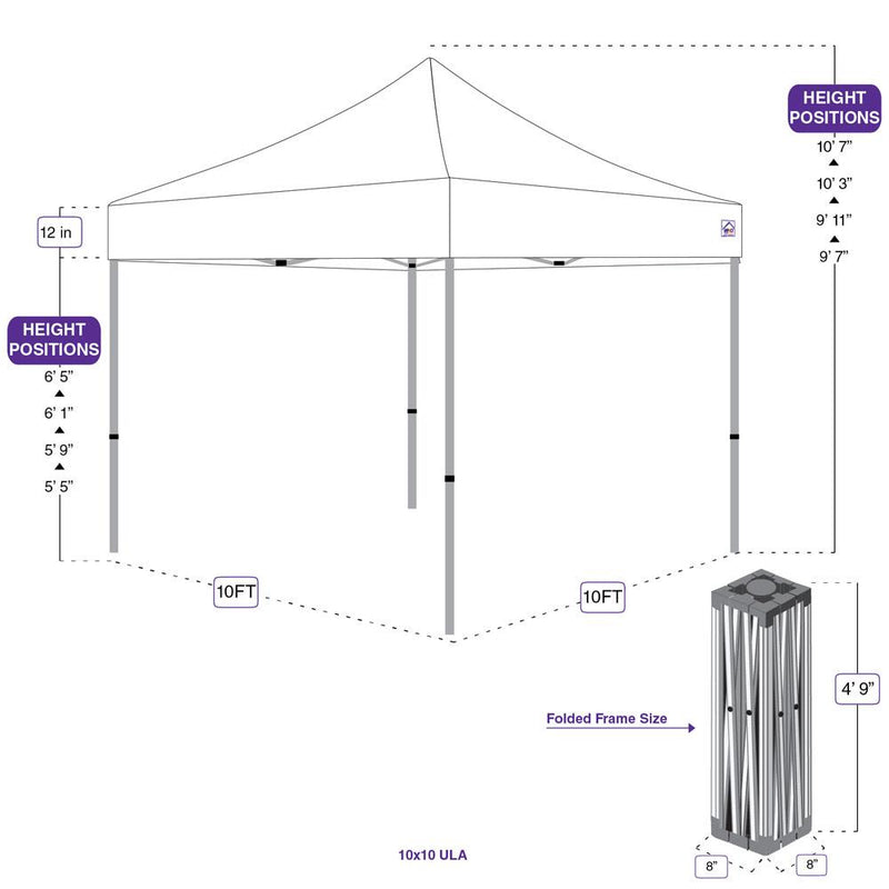 10x10 Recreational Grade Aluminum Pop up Canopy Tent with Sidewalls - ULA