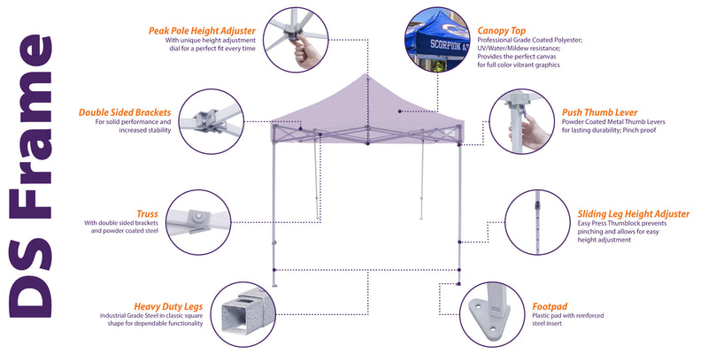 10x10 Industrial Steel Pop up Canopy Replacement Frame - DS