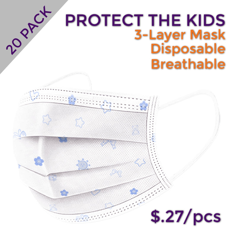 Kid's Blue Disposable Masks (Pack of 20)