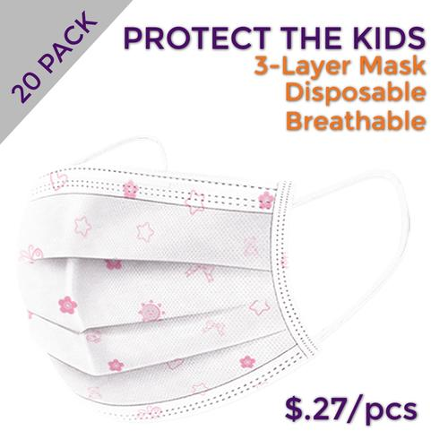 Kid's Pink Disposable Masks (Pack of 20)