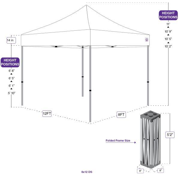 8X12 Industrial Steel Pop up Canopy Tent Replacement Frame - DS