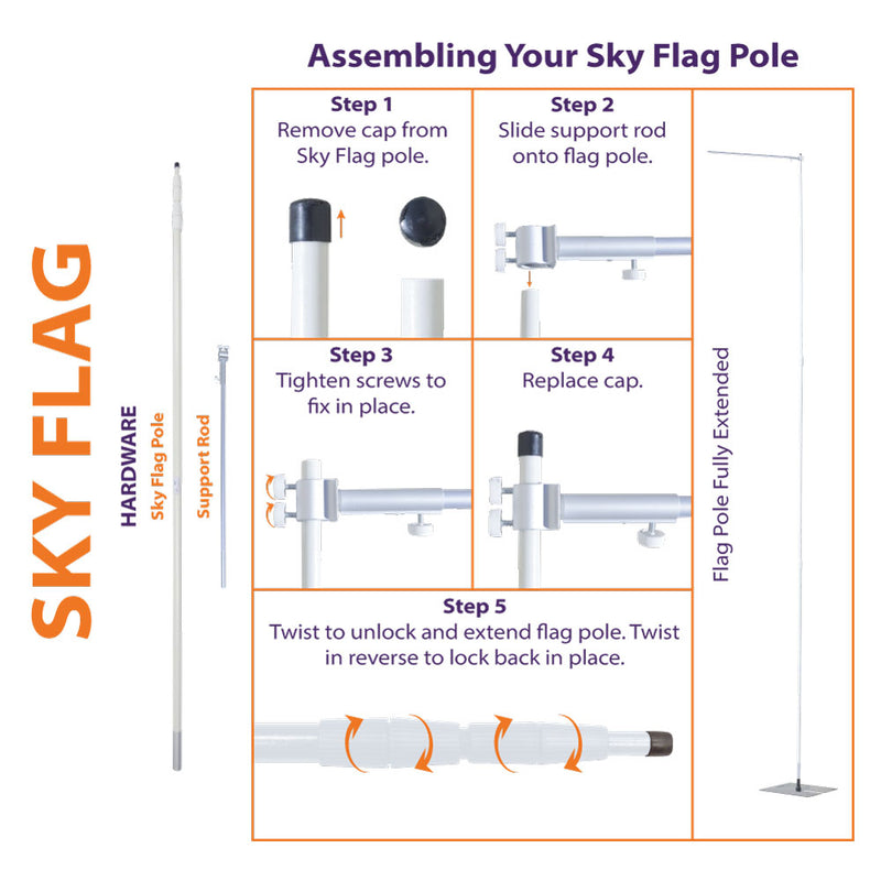 21' Telescopic Sky Pole (For i-Catcher Sky Flag)