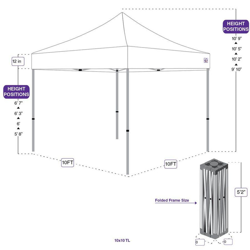 10x10 Recreational Grade Steel Pop Up Canopy Tent with Weight Bags - TL