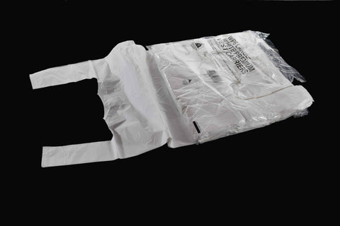 "280 x 430 x 535mm White Vest Carrier Bag 13mu (11""x17""x21"")"