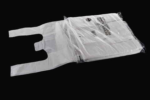 "305x483x584mm Large White Vest Carrier Bag 25mu (12""x19""x23"")"