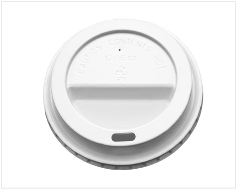 Domed Sip Lid White fits 12/16oz DW Cup (Signature & Kraft)