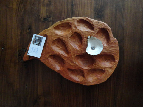12-Shelled Cherry Oyster Platter by Paul Sampson at Oyster River Joinery
