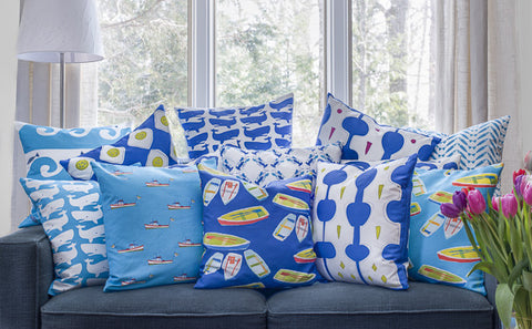 Whales Blue on White Pillow Cover