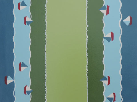 """Messing About"" Green and Blue Sailboat Canvas Placemats"