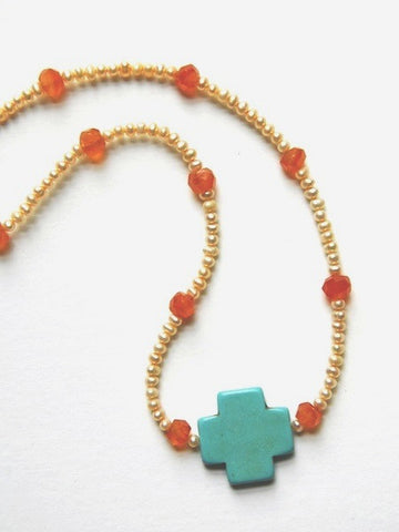 Peach Freshwater Pearl Necklace with Turquoise Cross
