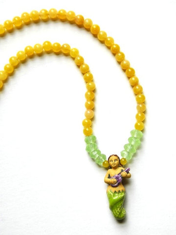 Mermaid and Yellow Jade Bead Necklace