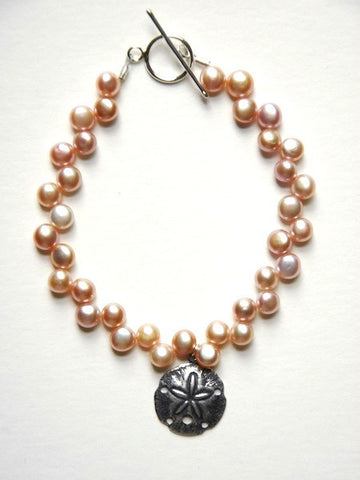 Peach Pearl Bracelet with Sand Dollar Charm