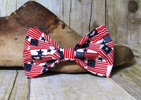 Red White and Blue Flags Pre Tied Bow Tie