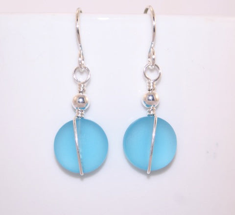 Aquamarine Straight Wire Wrapped Sea Glass Earrings