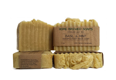Basil & Mint Shampoo/Body Beer Soap (Set of 2 Bars)