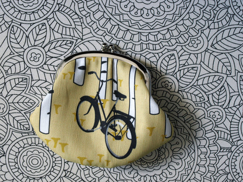 Black Bicycle / Yellow Chanterelle Clasp Purse