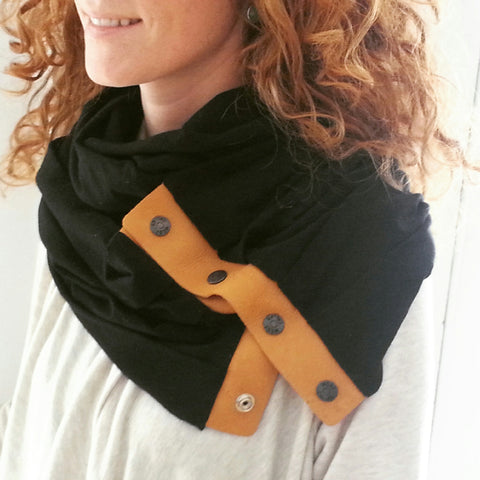 Black & Tan Leather Infinity Scarf