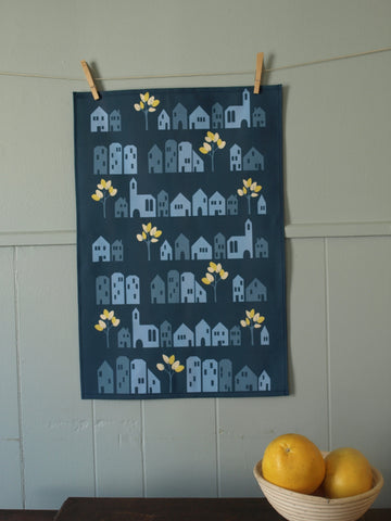 Midnight Houses Tea Towel